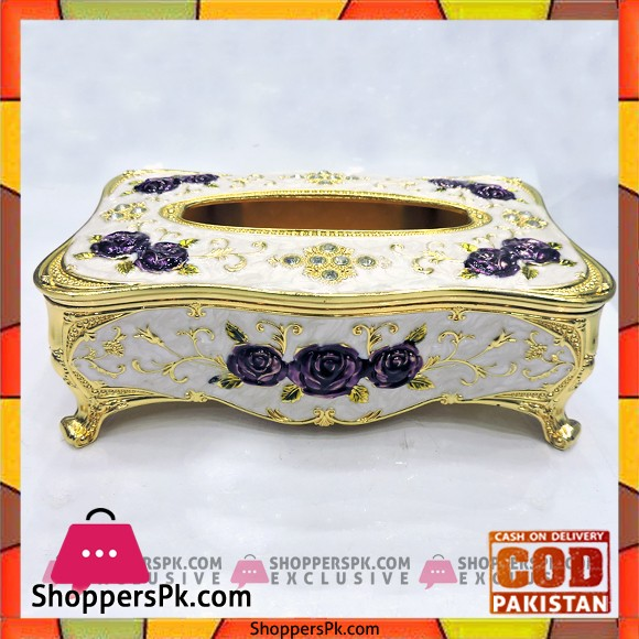 High Quality Fancy Golden Metal Tissue Box