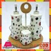4 Pcs Ceramic Condiment Set Oil / Vinegar / Salt / Pepper With Bamboo Rack