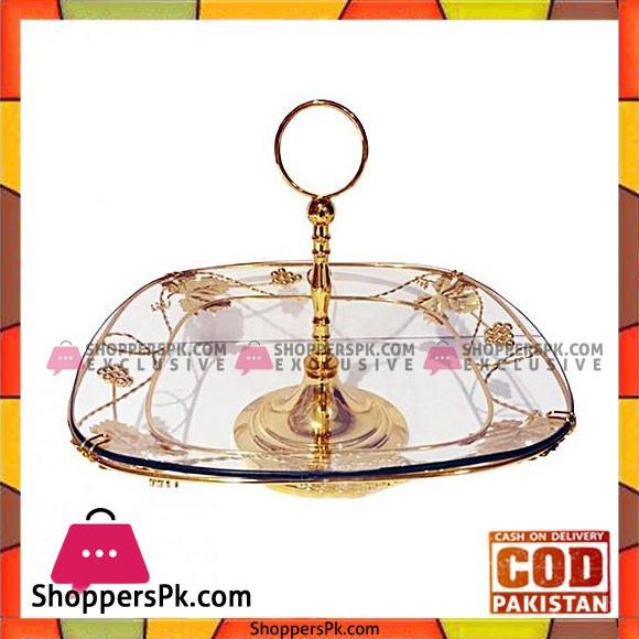 Orchid Gold Plated Cake Plate Dessert Display Plate Golden