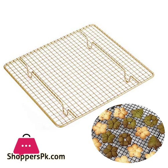 Pink Gold Carboon Steel Wire Cake Cooling Rack Square Size: 26 x 23 x 3cm