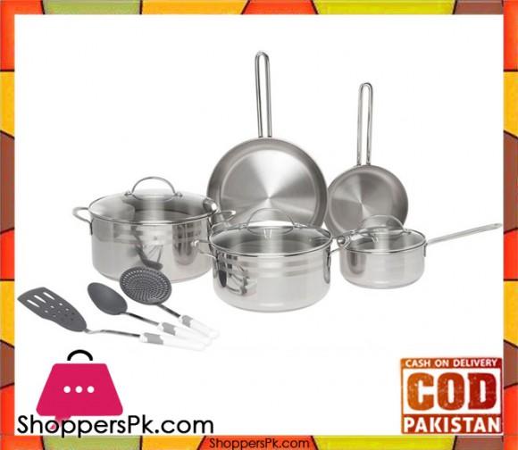 Prestige Infinity Stainless Steel Cookware Set of 11-Piece, Silver - PR77376