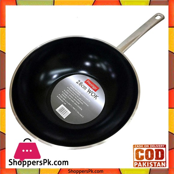 Prestige Stainless Steel Wok Speckled Non-Stick Coated 28 Cm 07467
