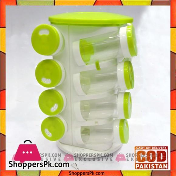 High Quality Plastic Revolving Spice Jars 16 Piece
