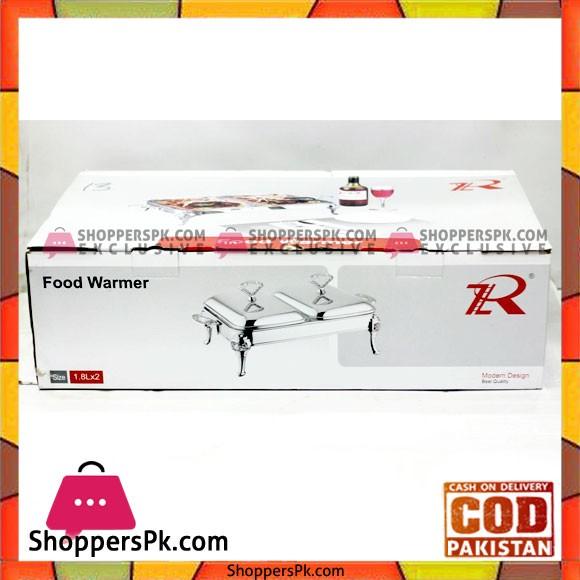 Royal Rectangular Buffet Serving Dish Food Warmer Set Of 2 Pcs 1.8 Liter