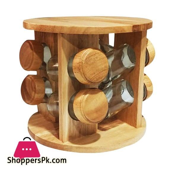 Rubber wood Revolving Glass Spice Rack 8 Piece Condiment Set