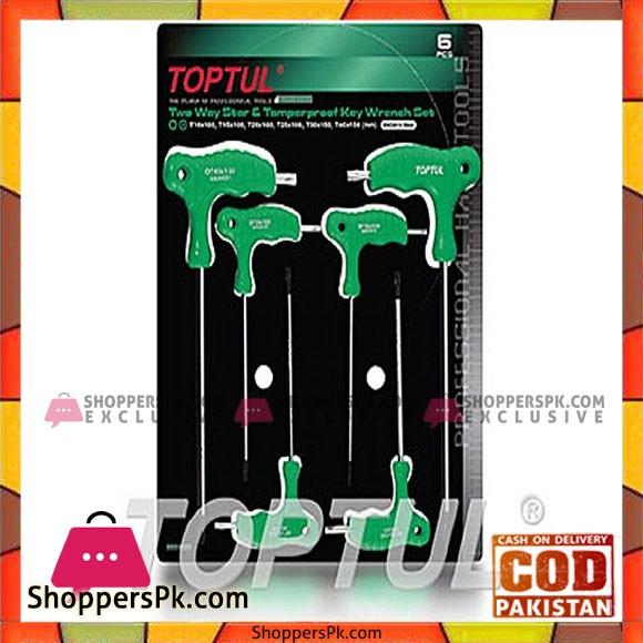 TOPTUL 6PCS Two Way Star & Tamper Proof Key Wrench Set AIEA T10 T15 T20 T25 T30 T40 TOPTUL GAAS0602