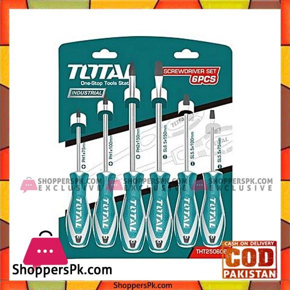 Total Tht250606 6Pcs Screwdriver Set-Green