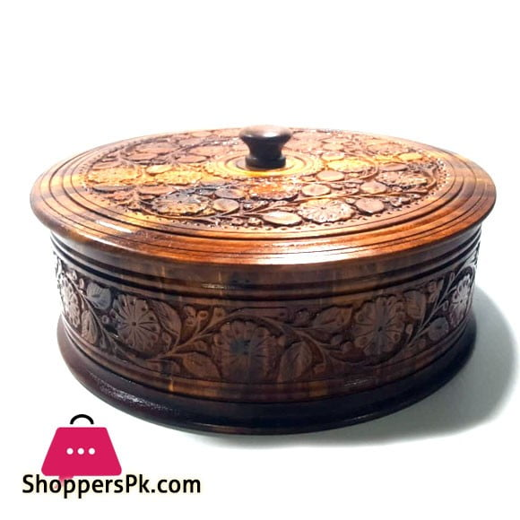 Wooden Carved Hot Pot Roti Box 10 inch