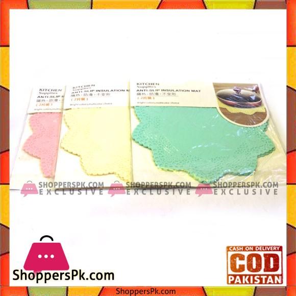 Anti-slip Insulation Silicone Mat Lace Star Shape - 2 Pcs