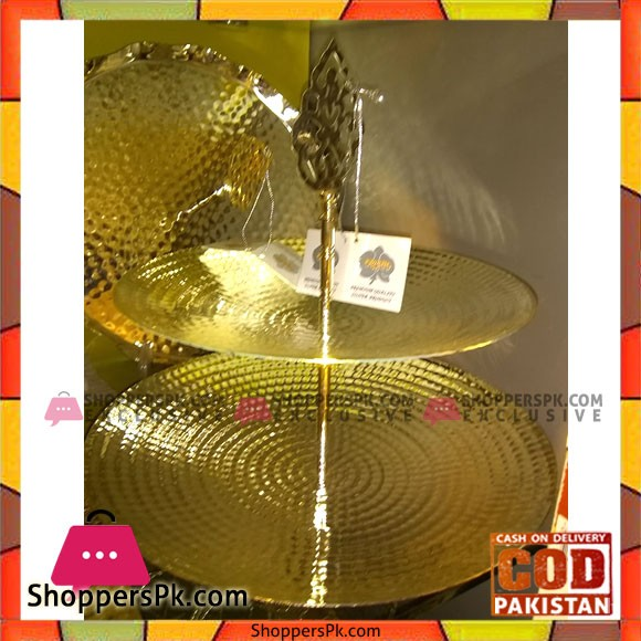 Orchid Gold Plated Dessert Display 2 Tier Tray Round Metal