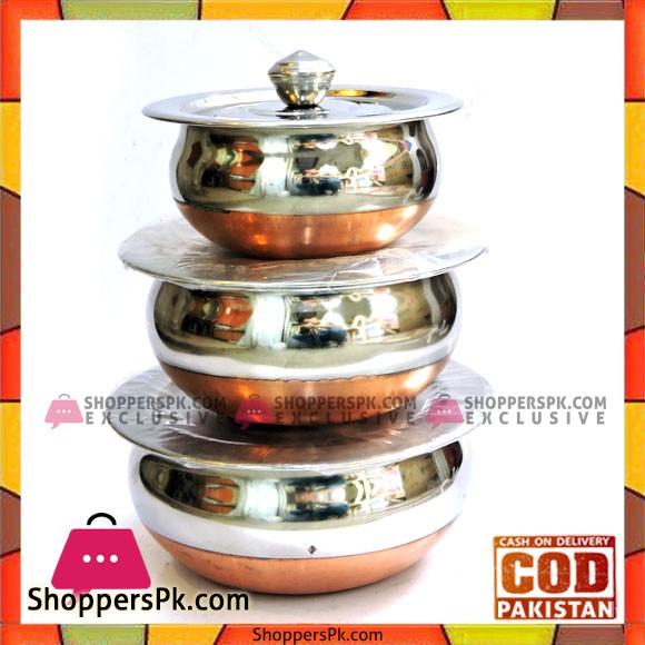 Stainless Steel Copper Base Indian Handi 3 Pcs Set