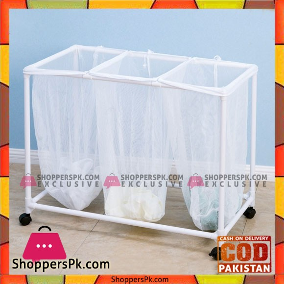 Plastic Lundry Sorter Triple Laundry Basket with Wheels YLT-0405F Price in Pakistan