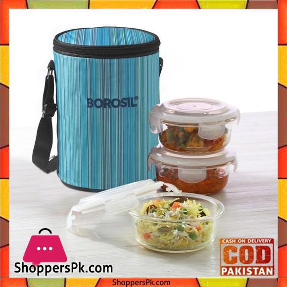 Borosil Microwavable Borosilicate Glass Klip N Store Round 400Ml 3-Pieces Lunch Box Set