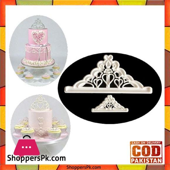 2 Pcs Sugarcraft Crown Set Plastic Fondant Cutter Cake Decorating Tools