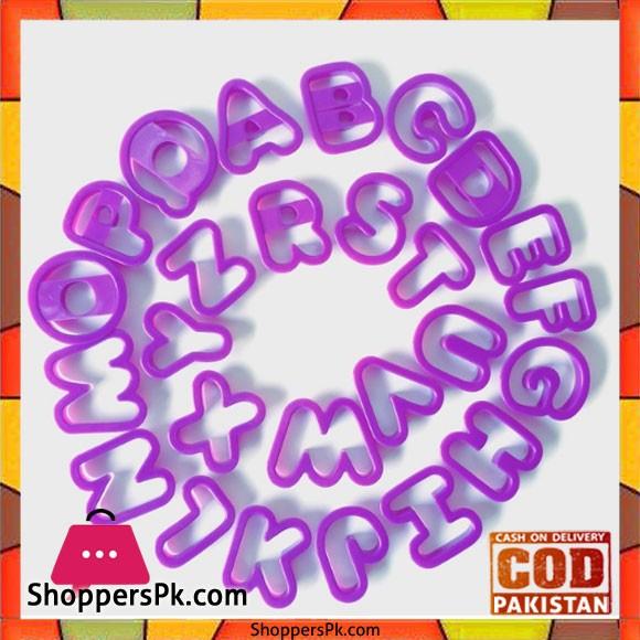 26 Pcs Alphabet Letter Cutter Plastic Cookie Press