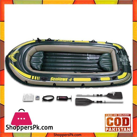 INTEX Seahawk 4 Boat Set With Oars And Pump 4 Person ( 138'' x 57'' x 19''