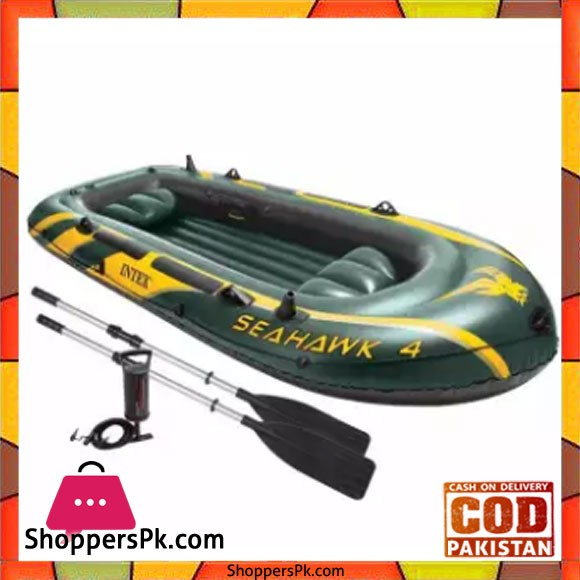 Intex 4Person Inflatable Boat Set With French Oars and High Output Hand Pump - 68351