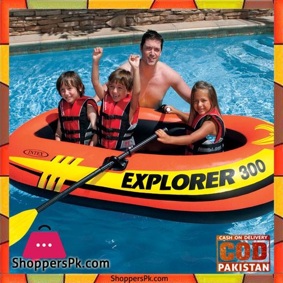 Intex Explorer 300 Compact Inflatable Three Person Raft Boat - 58332