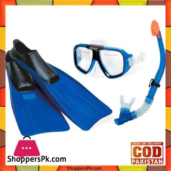 Intex Mask With Fins and Snorkel Swim Set Reef Rider Blue - 55957