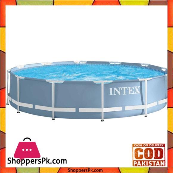 "Intex Prism Frame Pool Set Blue -366 x 366 x 76"" cm- 28712"