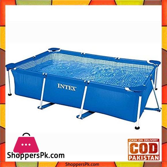 Intex Rectangular Frame Pool, Blue - 7.21 x 4.92 x 2 Feet - 28270