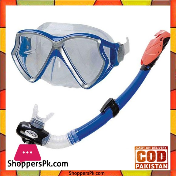 Intex Silicone Aviator Pro Swimming Diving Mask and Snorkel Set - 55960