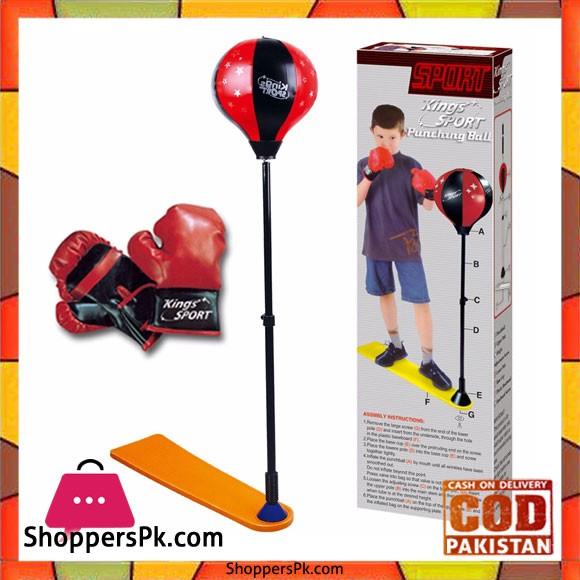 Kids Punch Bag Ball Boxing Gloves Mitts Kit Childrens Free Standing Punching Set