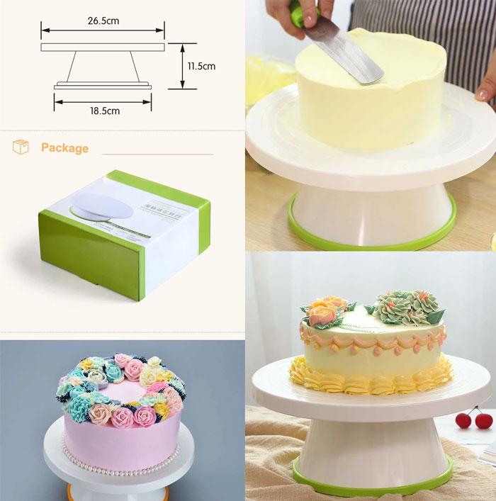 New Design Food Grade Plastic Revolving Cake Turntabe