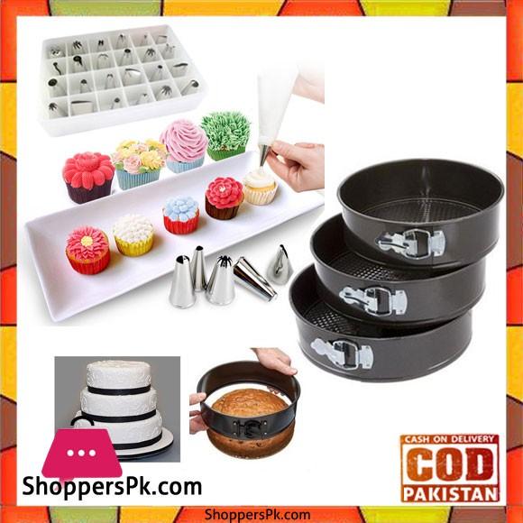 24 Pcs Decorating Nozzles With 3 Pcs Round Cake Pan