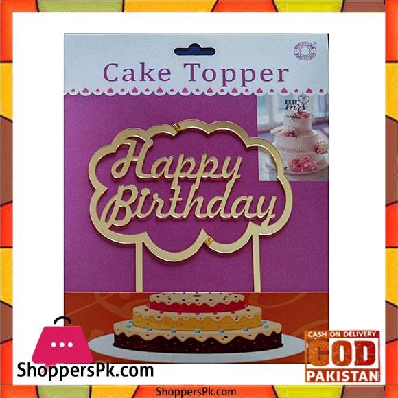 Acrylic Golden Cloud Happy Birthday Cake Topper