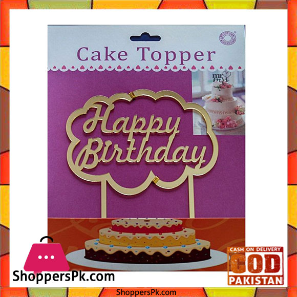 Acrylic Golden Cloud Happy Birthday Cake Topper