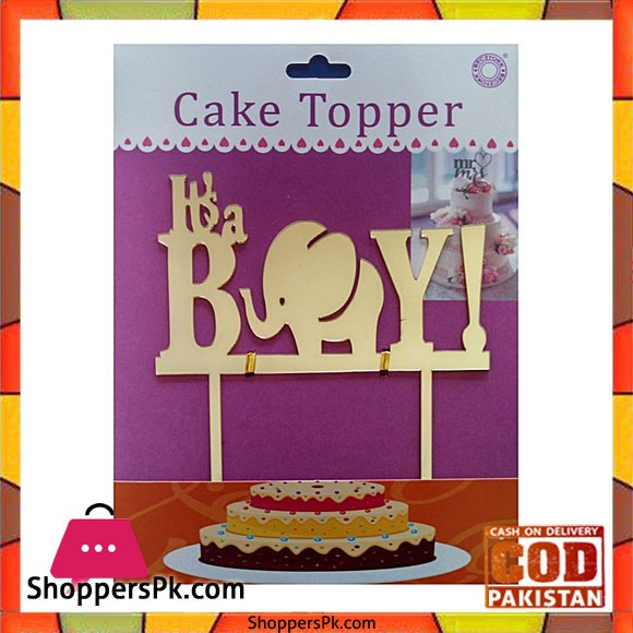 Acrylic Golden Its A Boy Cake Topper