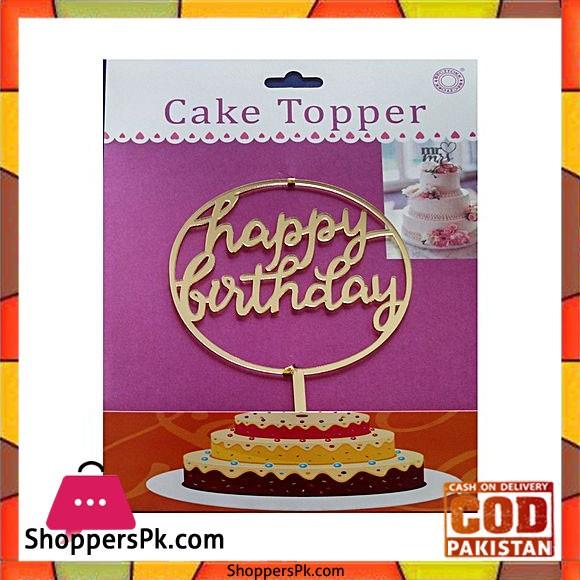 Acrylic Golden Round Happy Birthday Cake Topper