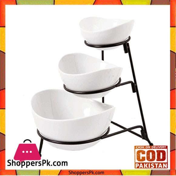 Dining 3 Tier Oval Bowl Set Ware with Metal Rack White -SY4448