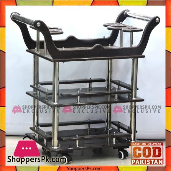 Wooden Glass Style Tea Trolley