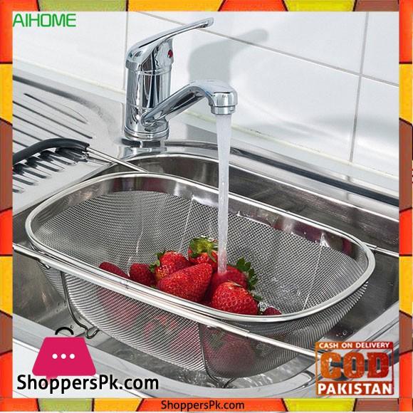 Fruit Vegetable Strainer Colander, Retractable Over The Sink