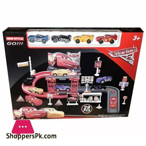Lightning McQueen Cars 3 Racing Track with Toy Cars Racing Track 29 PCs Parking Garage Playset for Kid
