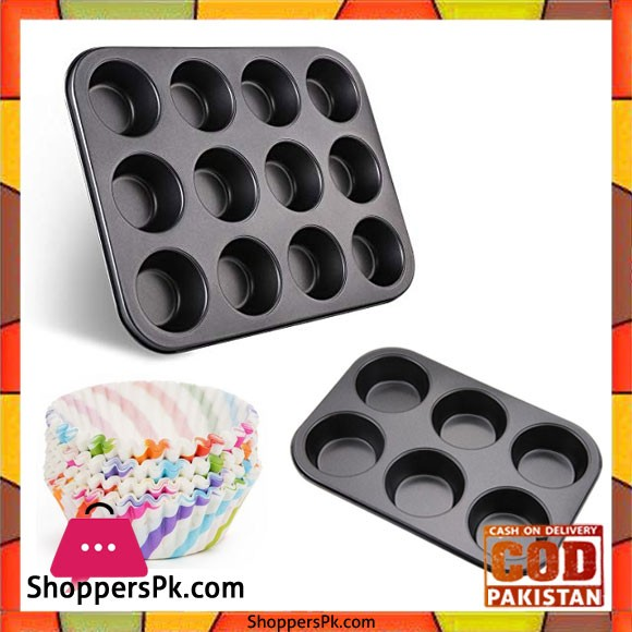 Pack of 3 - Cupcakes Baking Trays With Cupcake Liner