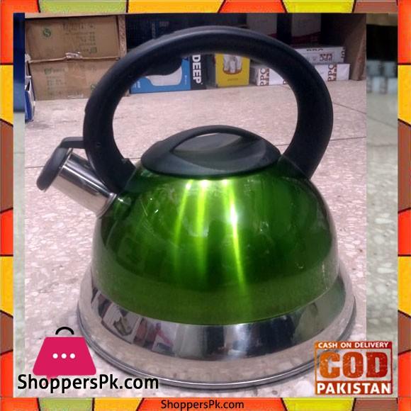 Stainless Steel Whistling Kettle 3 Litre - Green