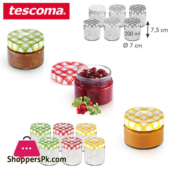 Tescoma Della Casa Preserving Jars 200-ML Set 6 pieces Italy Made - #895112