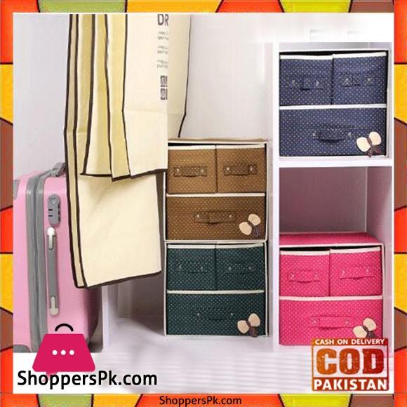 Foldable Fabric Storage Box Organizer 3 Drawer