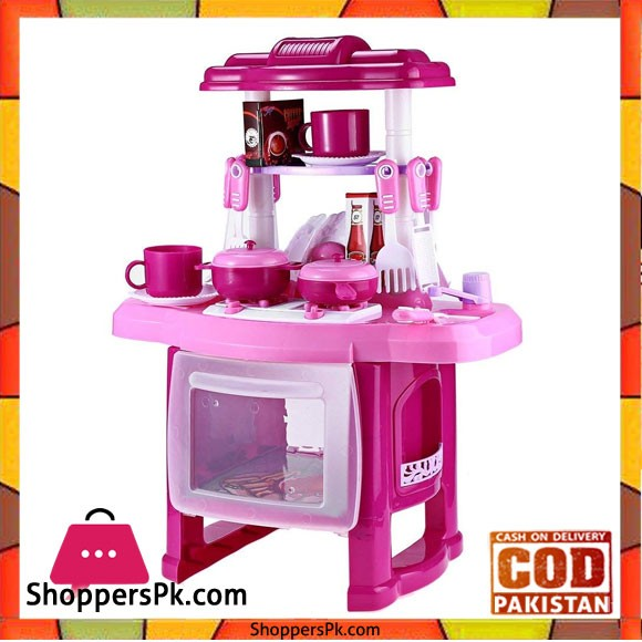 Robolife Kids Kitchen Cookware Pretend Play Toy Set with Music Light for Kids 3 Pink
