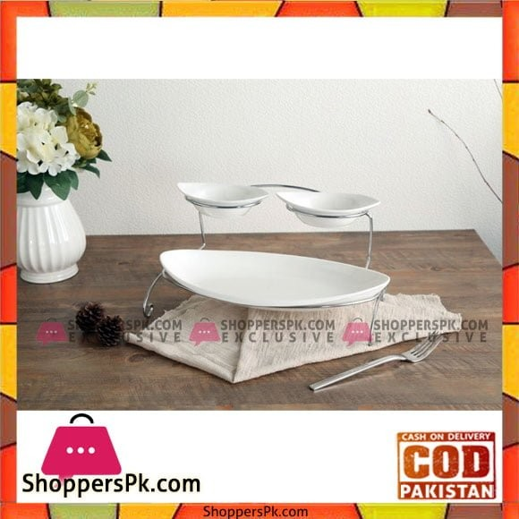 2 Pcs Sauce Bowls & Curve Plate With Stand