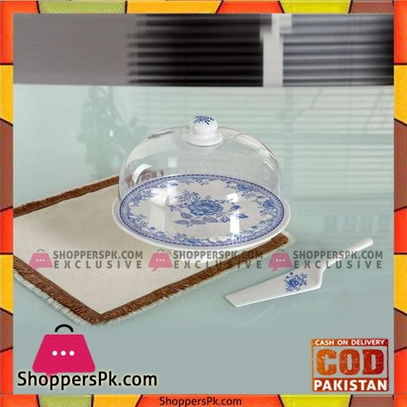 Cake Plate with Lid & Serving Spatula