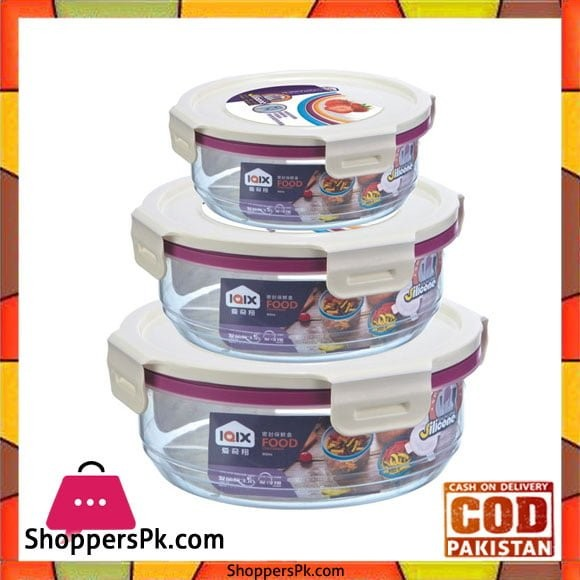 Round Airtight Food Containers Three Piece