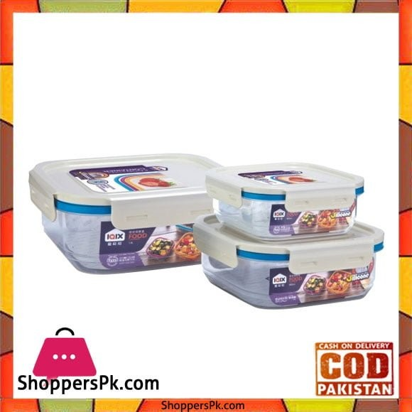 Square Airtight Food Containers Three Piece