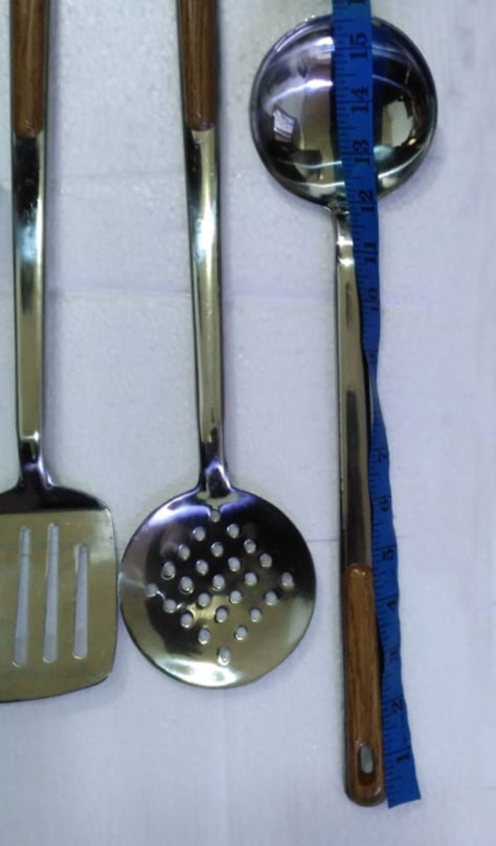 4 Pcs Stainless Steel Wood Handle Cooking Spoons