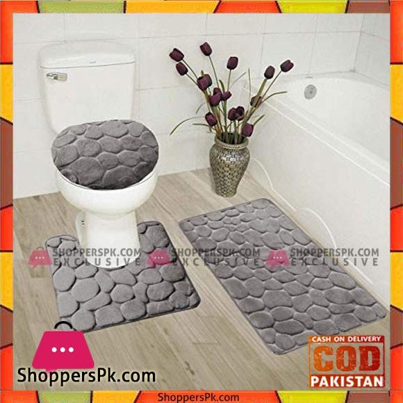 3-Piece Rock Memory Foam Bathroom Mat Set