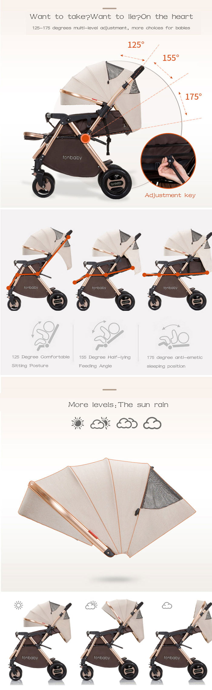 Baby Carriage Fold Design Convertible Baby Carriage Portable Baby Strollers