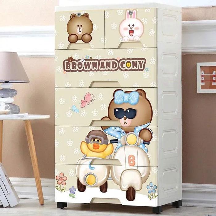 Cartoon Baby Plastic Storage Cabinet